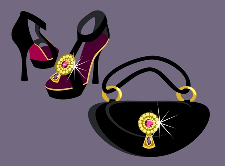 Exclusive shoes and bag. Vector