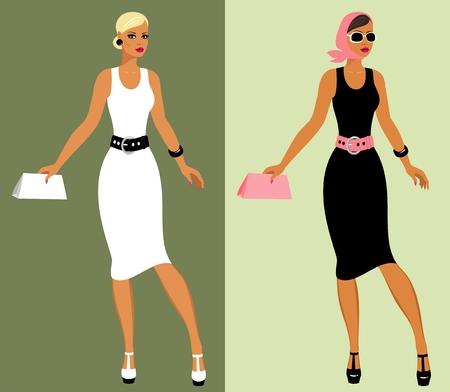 handbag model: Fashion 80s of last century. Illustration