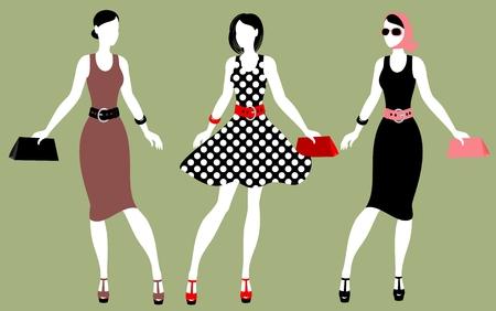 Fashion 80s of last century. Illustration