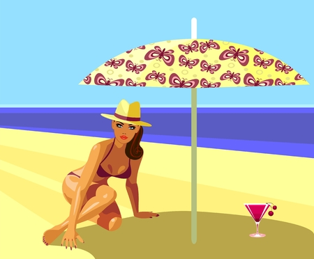 Girl with a cocktail on the beach Vector