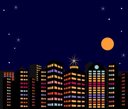 Summer night city Stock Vector - 8986020
