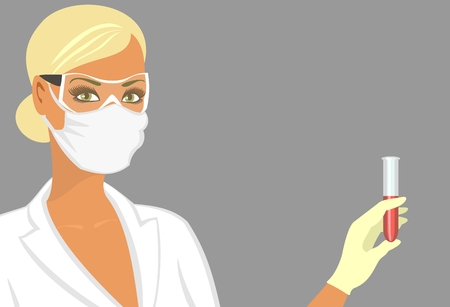 test glass: laboratory assistant in a mask  Illustration