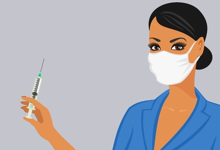 nurse injection: assistente di laboratorio in una maschera