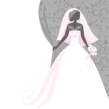 pink dress: bride in a veil