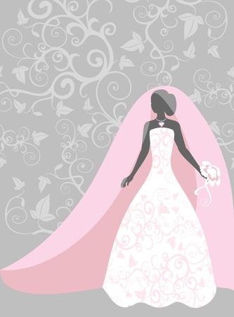 bride in a veil Vector Illustration