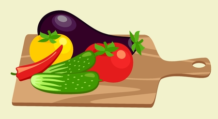 cutting board and vegetables Vector