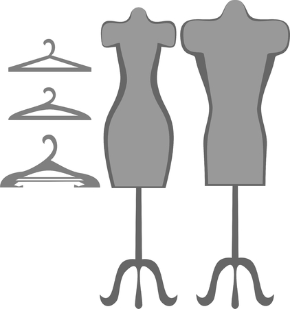 sewing supplies: dummy and hanger