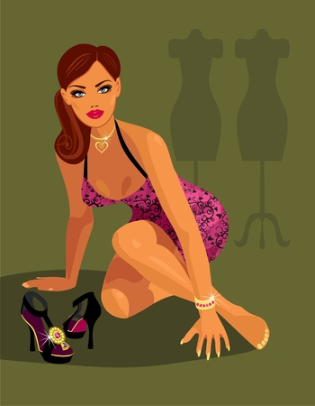 fashion model after work Vector