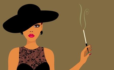 sigaretta: Signora in un cappello con sigaretta  Vettoriali