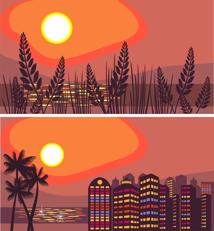 Summer night city Illustration
