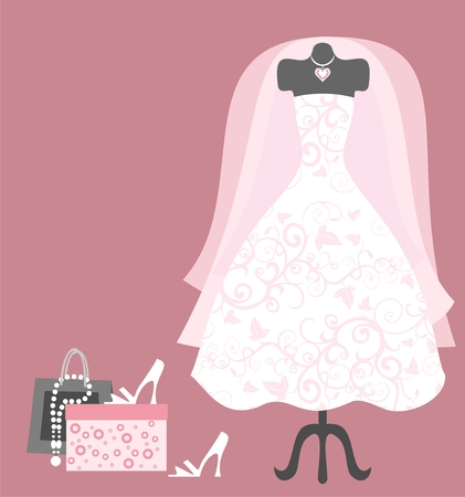 silhouette of bride: wedding dress and accessories