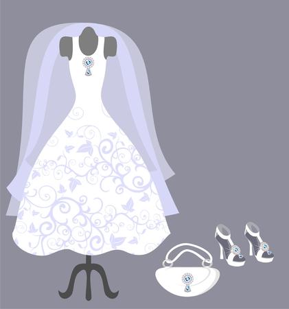 zapatos azules: vestido de novia y accesorios Vectores