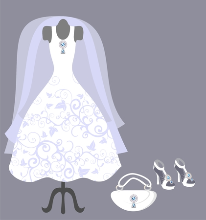 wedding dress and accessories