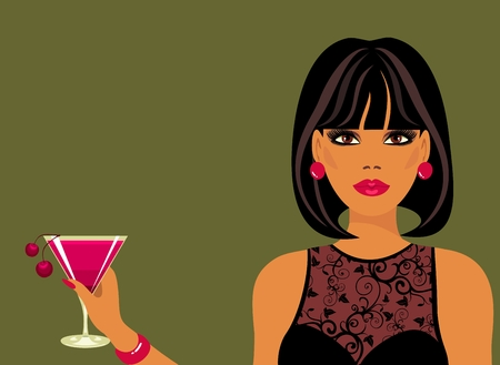 Lady with a cocktail in hand Vector