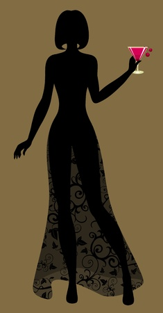 silhouette of Lady with a cocktail  Vector