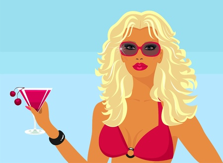Jeune fille avec un cocktail sur la plage.