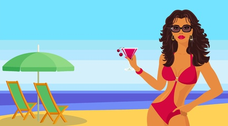 Girl with a cocktail on the beach. Vector