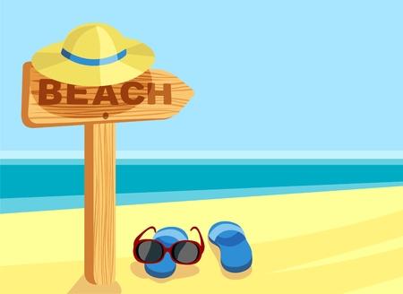 seashore: beach sign