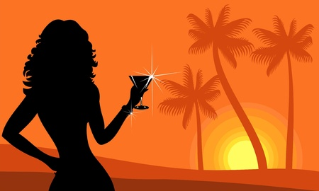 silhouette of Lady on the beach Vector