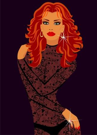 transparent dress: Woman in lacy lingerie. Illustration