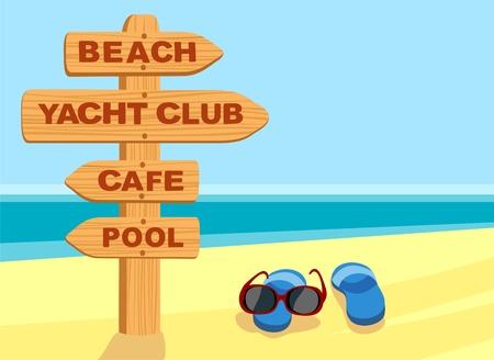sunglasses beach: Beach sign