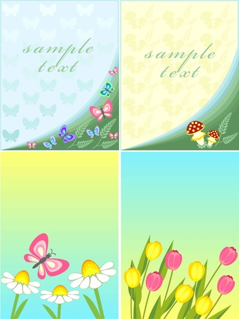 postcard with a picture of chamomile and tulip Vector