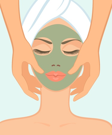 relaxation massage: girl in spa salon takes a facial massage