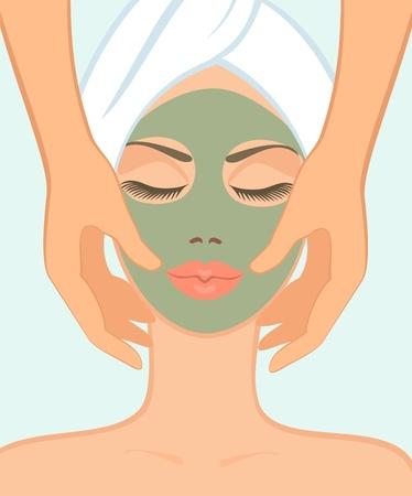 massage therapie: meisje in spa salon neemt een gezichtsmassage Stock Illustratie