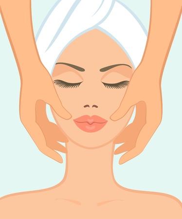 salud sexual: chica en sal�n spa toma un masaje facial Vectores