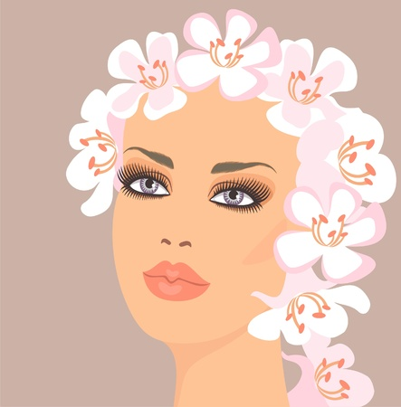 pamper: Woman with flowers