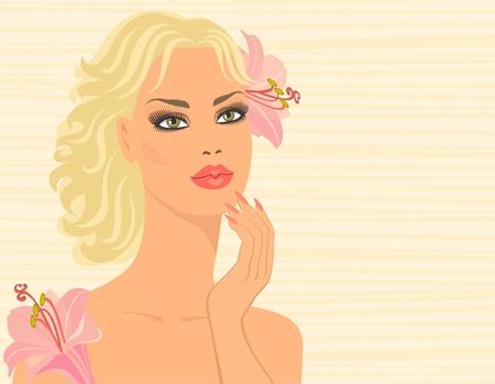 salud sexual: Mujer con flores Vectores