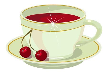 cup of cherry tea Stock Vector - 9506495