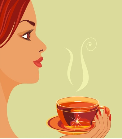 girl with cup of tea. Vector