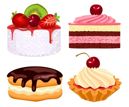 expensive food: Collection of beautiful cakes