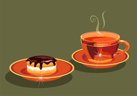 tea and  cake. Vector