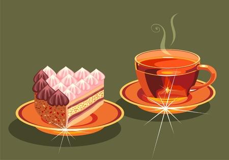 porcion de torta: t� y un pedazo de la torta.