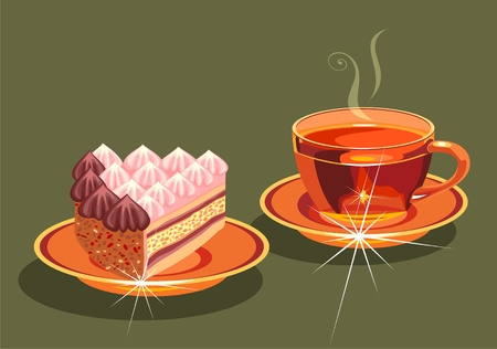 tea and a piece of cake. Vector