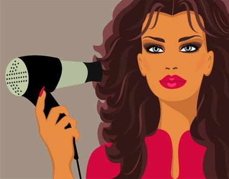 salud sexual: mujer y secador de pelo Vectores