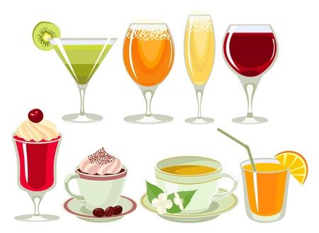 jasmine flower: drinks-icon-set. Illustration