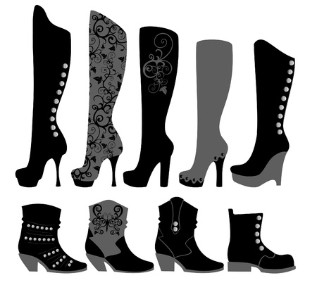 boots: Fashionable ladies shoes in black Illustration