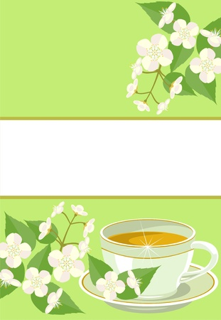 cup of tea with jasmine flowers. Vector