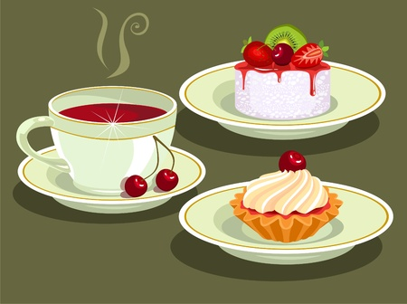 tea and  cake Stock Vector - 9618260