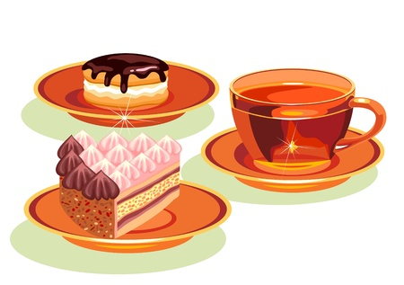 tea and  cake Vector