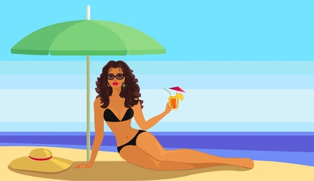 sexy girl bikini: Girl with a cocktail on the beach. Illustration