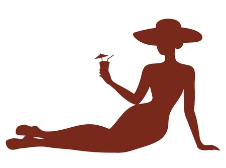 silhouette of Girl with a cocktail