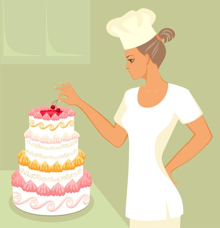 baker  with wedding cake Vector