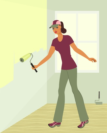 girl, painting the walls Vector
