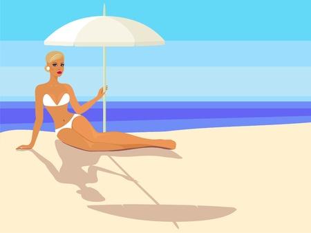sexy umbrella: lady in bikini with parasol Illustration