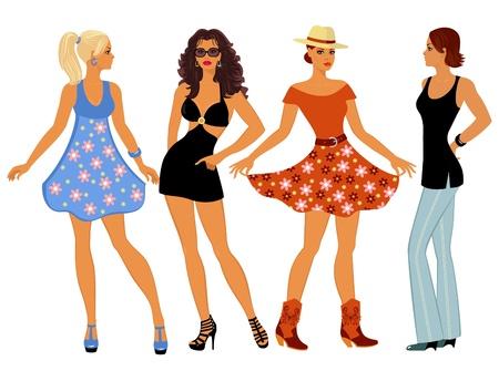 faldas: chicas en ropa de verano