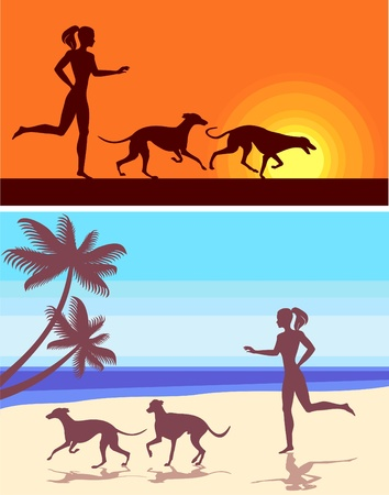 silhouettes of greyhounds  and girl  Vector